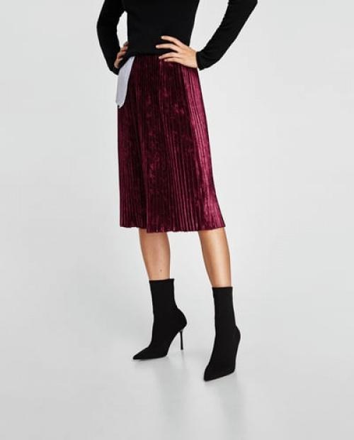 Zara - Jupe plissée en velours