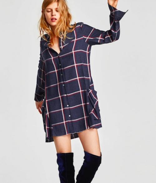 Zara - Robe chemise à poches