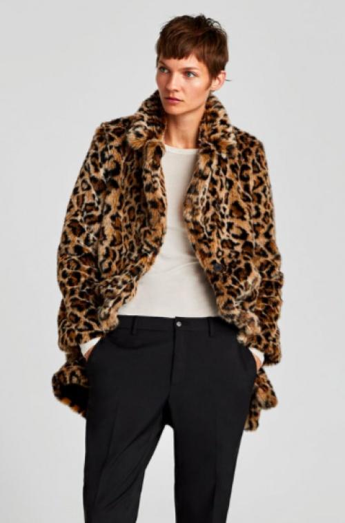 Zara - Manteau fausse fourrure à imprimé animal