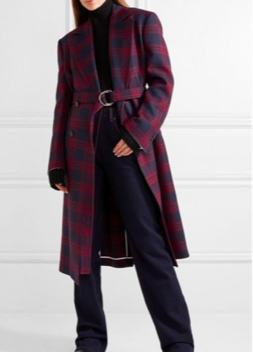 Calvin Klein - Manteau oversize à double boutonnage en laine à carreaux
