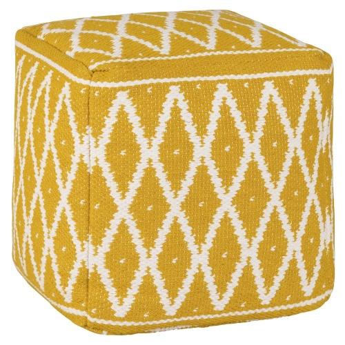 Maison du Monde -Pouf en coton jaune et blanc imprimé ethnique