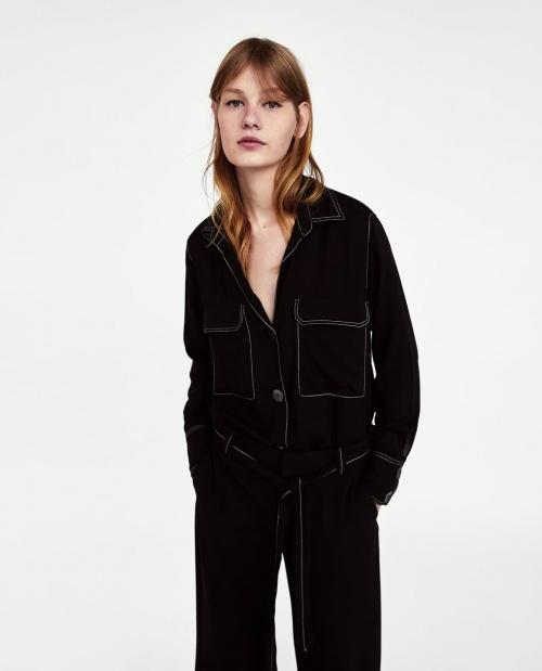 Zara -Chemise avec surpiqûres contrastées