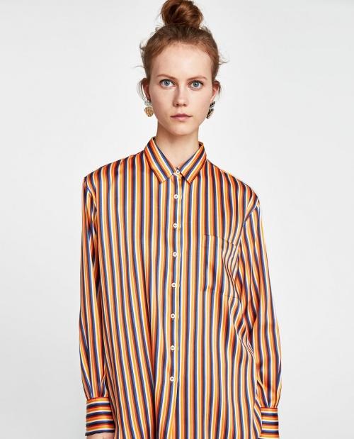 Zara - Chemise satinée à rayures