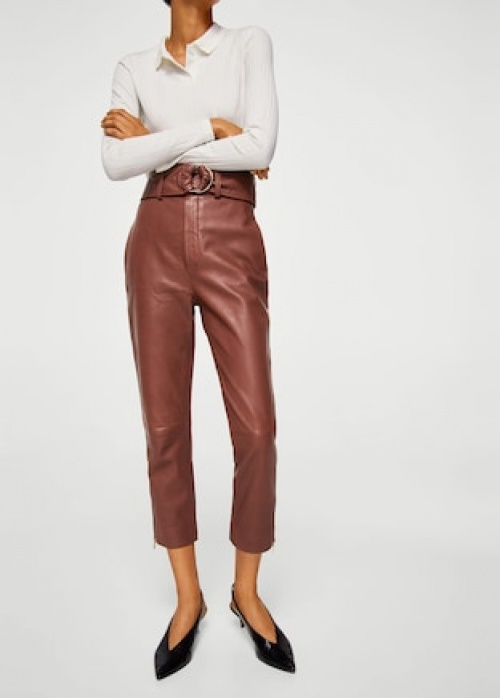 Mango - Pantalon en cuir