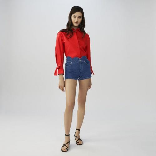 Maje - Short en jean à découpes