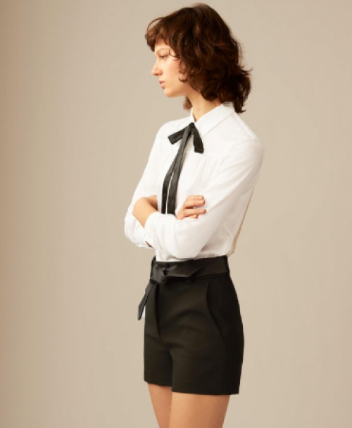 Maje - Short noir habillé avec ceinture en satin