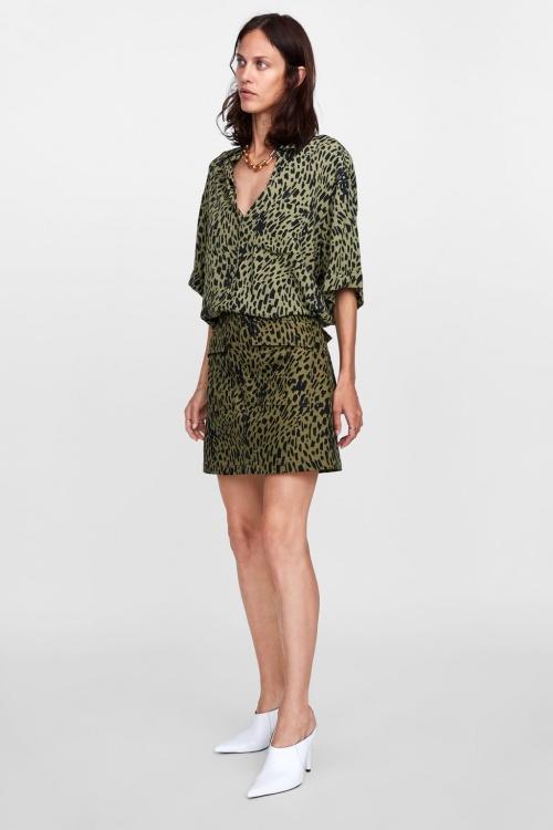 Zara - Mini Jupe à Imprimé Animal