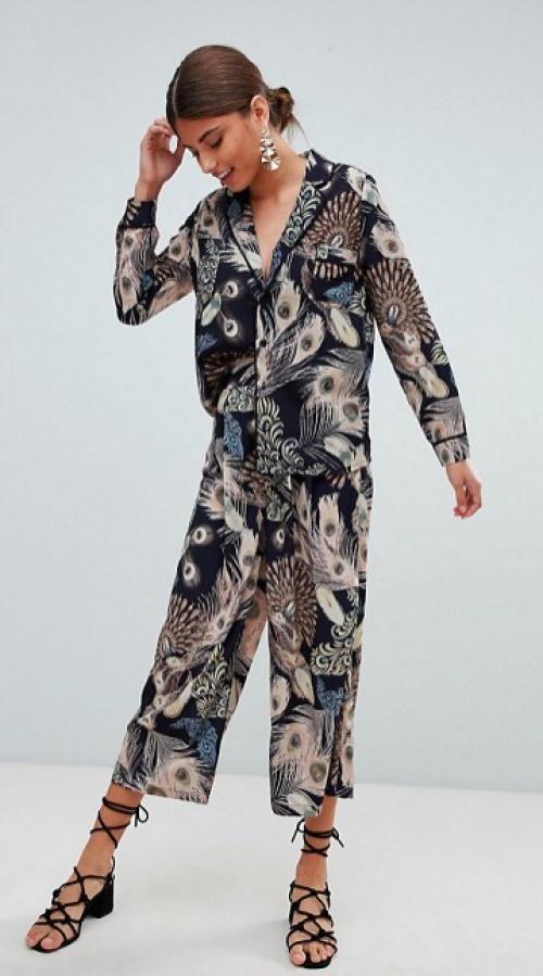 Missguided - Ensemble Chemise et Jupe-culotte à Imprimé Plumes