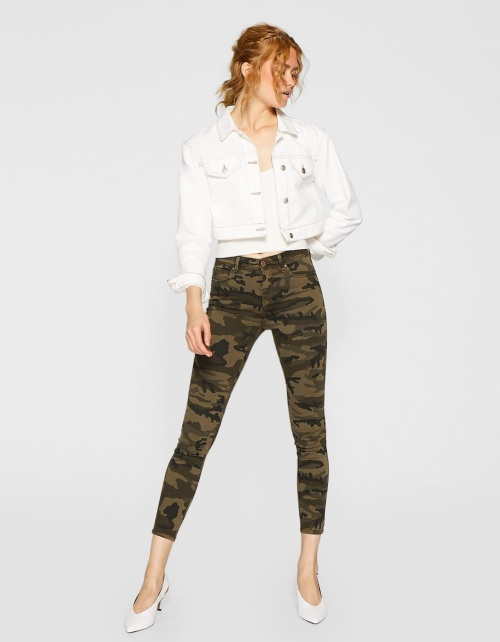 Pantalon army taille haute kaki