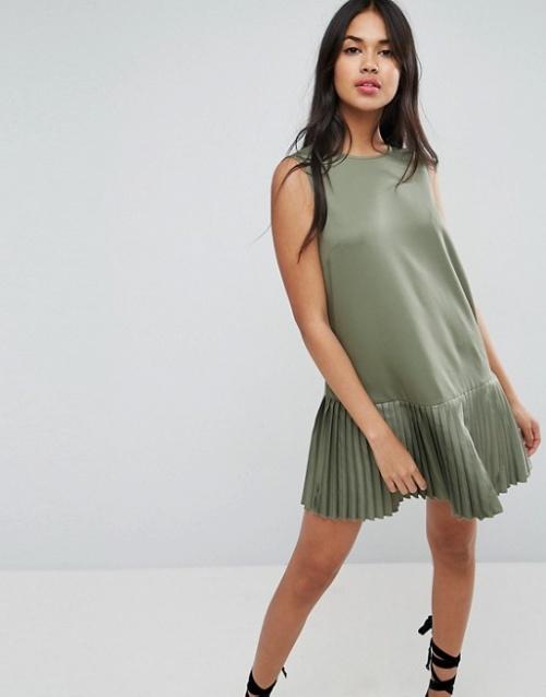 robe trapèze plissée kaki