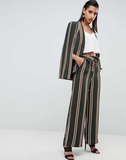 pantalon large à rayures kaki