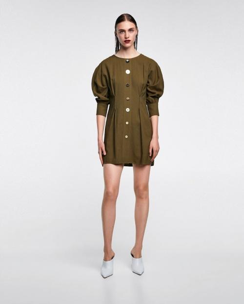 robe kaki plissée à boutons