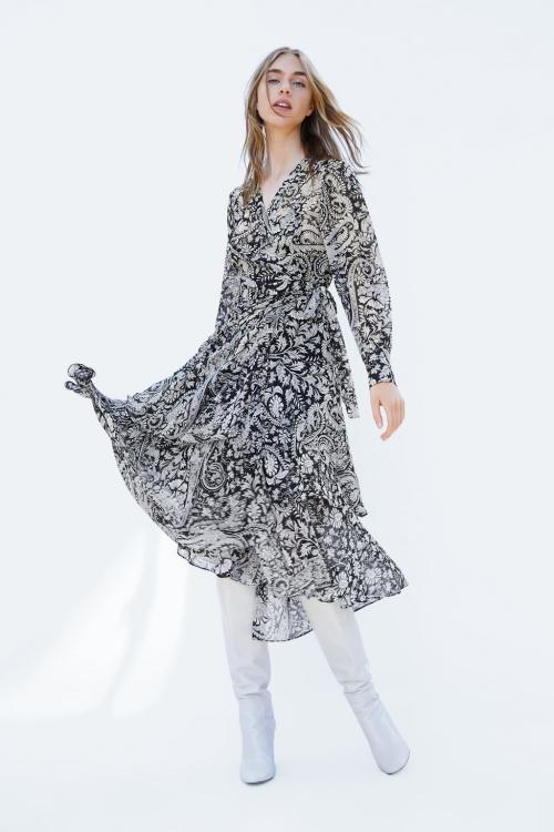 Zara - Robe Portefeuille Imprimée