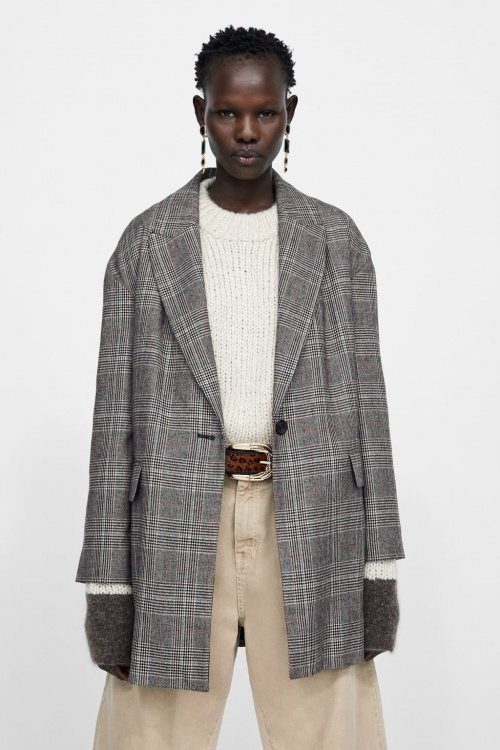 Zara - Blazer oversize à carreaux