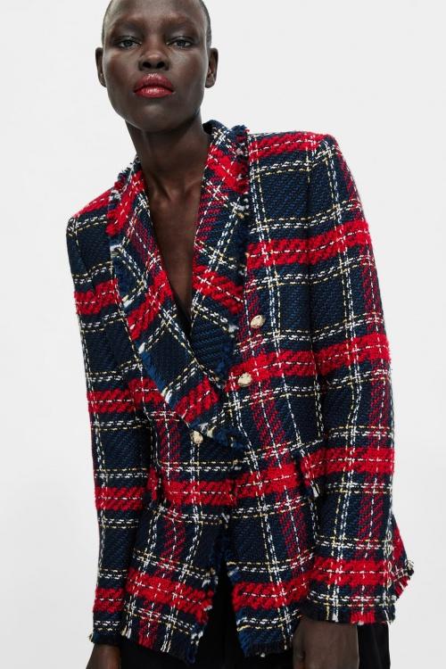 Zara - Blazer en tweed à carreaux