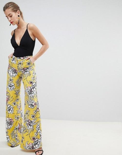 Morgan - Pantalon palazzo à fleurs vives
