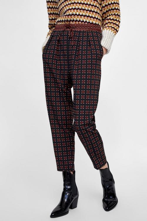 Zara - Pantalon imprimé géométrique