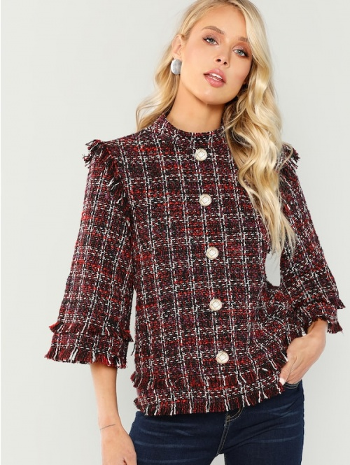 SHEIN - Manteau en tweed avec bouton