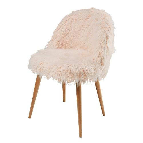 Maisons du monde - MAURICETTE - Chaise vintage en fausse fourrure rose et bouleau