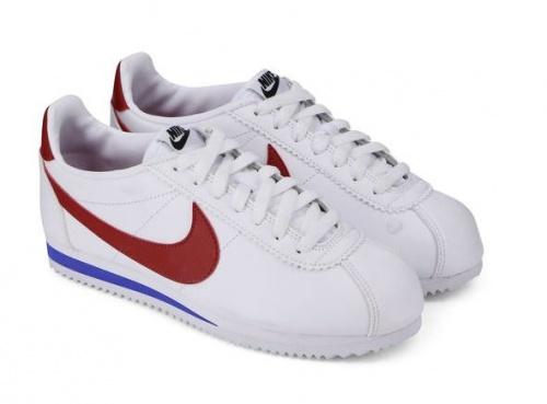 Nike - Cortez en cuir Blanc / Rouge