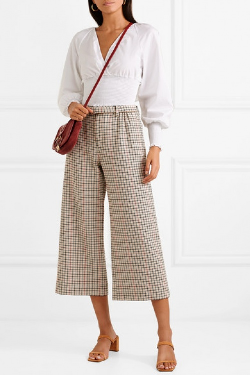 Maje -  Pantalon large raccourci en tweed pied-de-coq