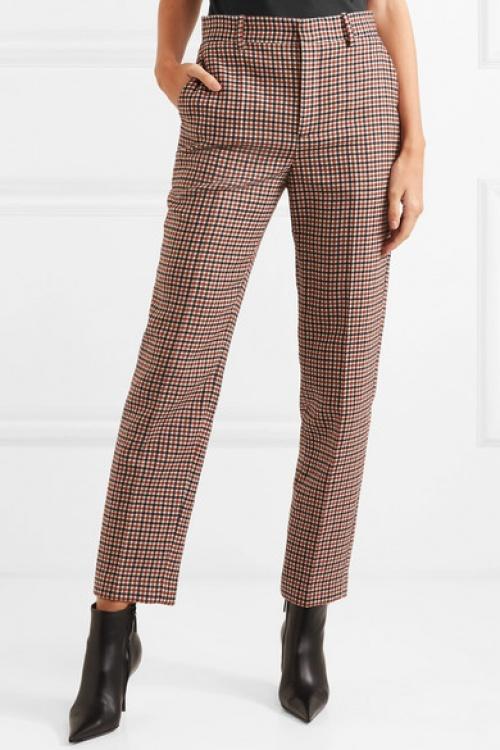 Balenciaga - Pantalon droit en tweed de laine mélangée à carreaux