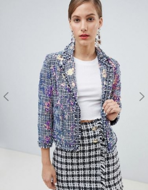 River Island - Veste en tweed ornée de sequins