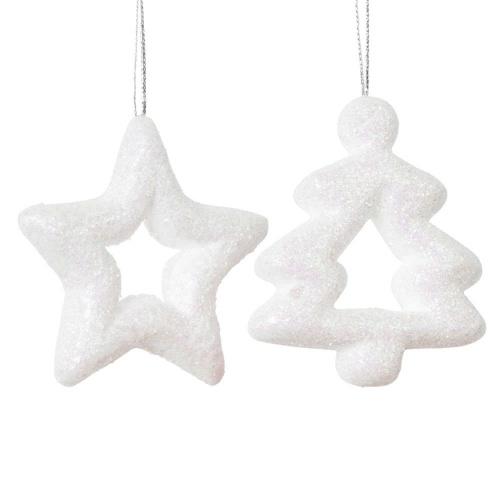 Maisons du Monde - Suspensions de Noël sapin et étoile blancs