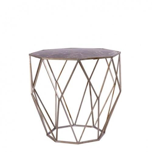 Casa - HEXA Table d'appoint dorée, gris foncé H 40 x Larg. 45 x P 45 cm