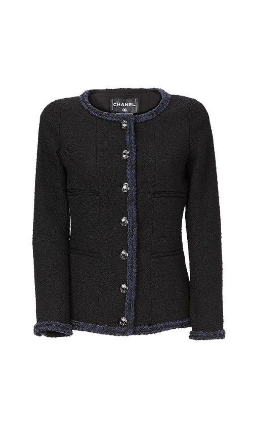 Chanel - Veste en tweed noire