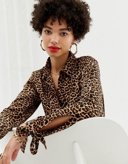 Na-kd - Blouse manches nouées à imprimé léopard