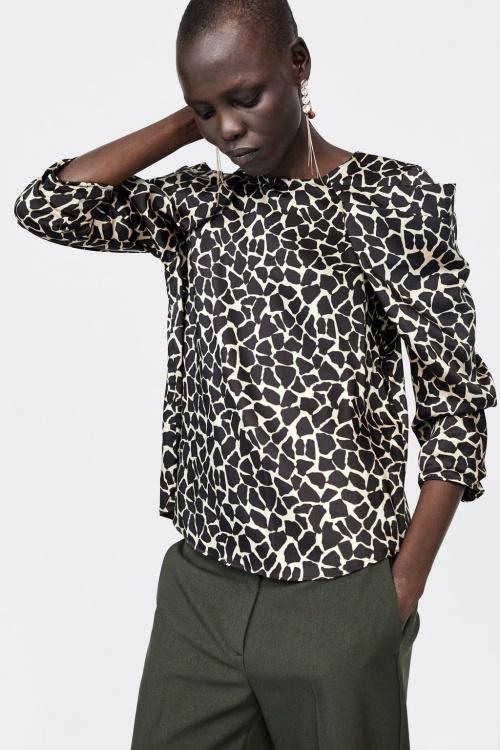 Zara - Blouse à imprimé animal drapée