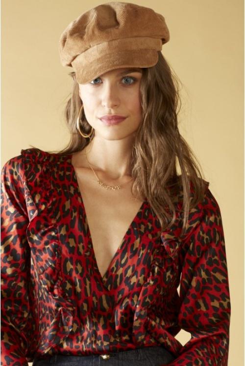 Chemise à volants, imprimée Léopard rouge