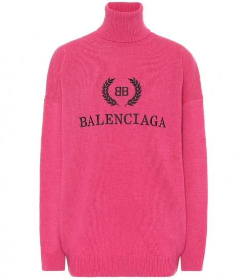 Balenciaga- Pull à col roulé en laine et cachemire brodés