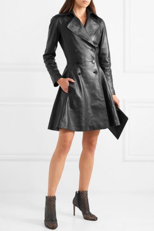 Alaïa - Manteau à double boutonnage en cuir