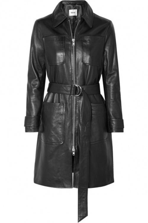 Stand - Manteau en cuir à ceinture Keren