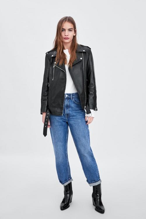 Zara - Blouson en cuir oversize