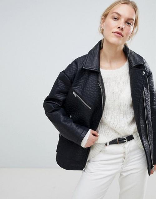Selected Femme - Veste en cuir texturée avec manches larges