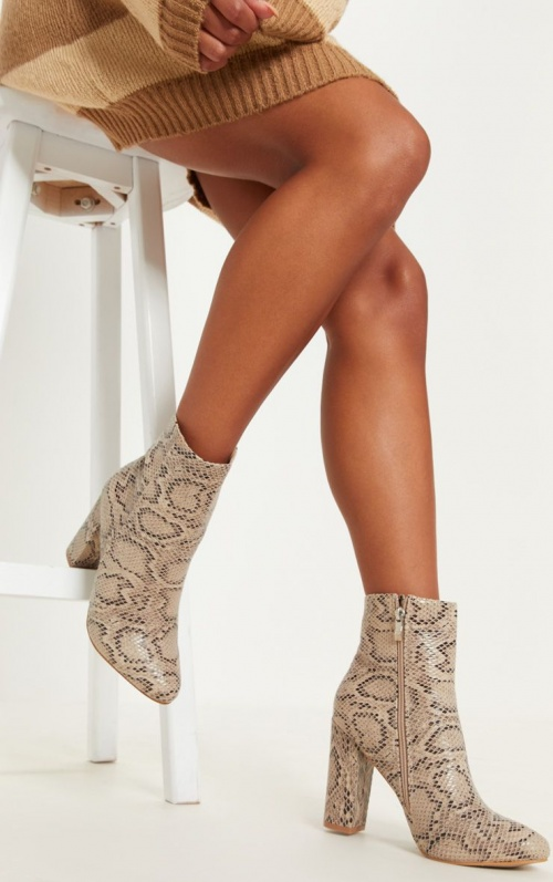 PrettyLittleThing- Bottines imitation python