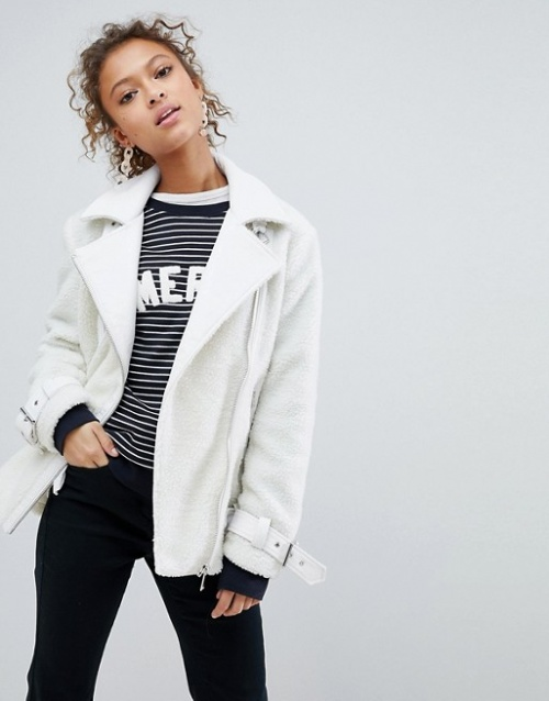 Miss Selfridge - Blouson aviateur oversize en imitation peau de mouton