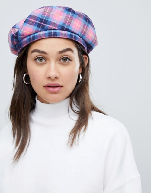 Asos- Béret à carreaux rose