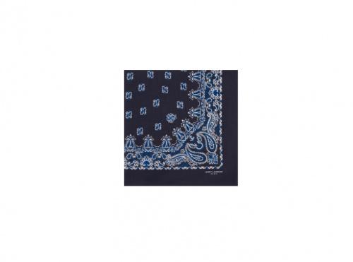 Saint Laurent - Carré Bandana en Coton A Imprimé Cachemire Bleu et Blanc