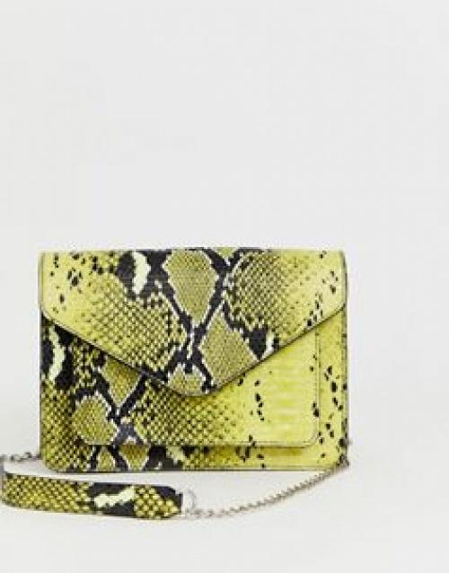 Pieces - Sac bandoulière effet peau de serpent avec chaîne