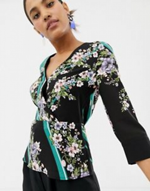 Oasis - Top cache-cœur à imprimé foulard fleuri