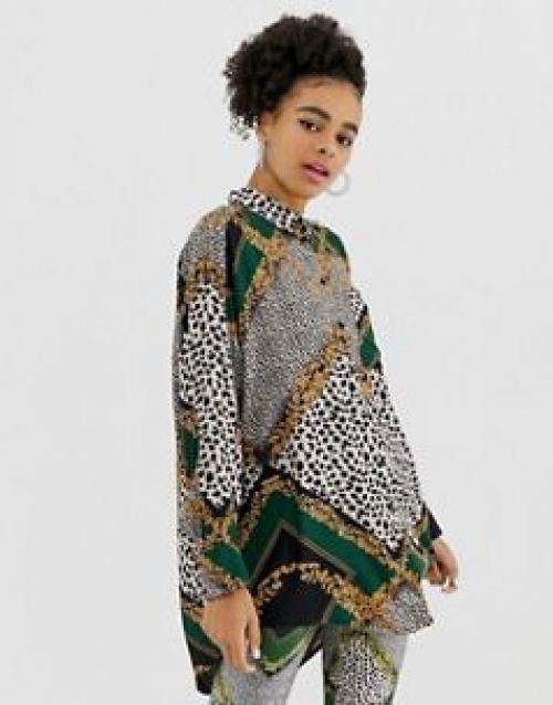 Monki - Blouse longue oversize à imprimé foulard