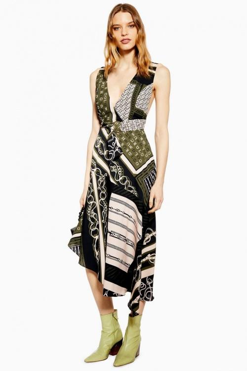 Topshop - Robe tablier à imprimé foulard de style équestre
