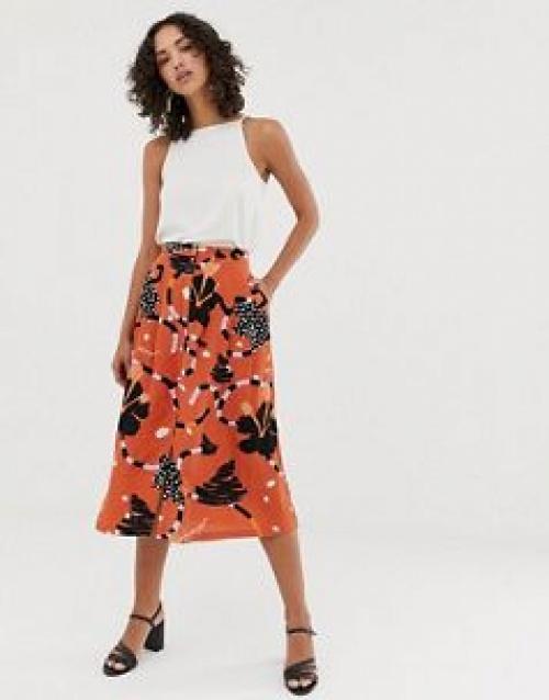 Selected Femme - Jupe mi-longue boutonnée à imprimé abstrait