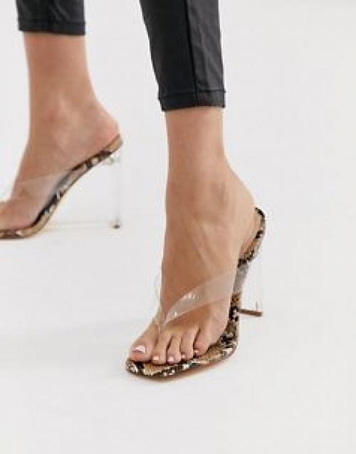 Simmi London - Jemima - Sandales à talons transparentes avec lanière et bout carré