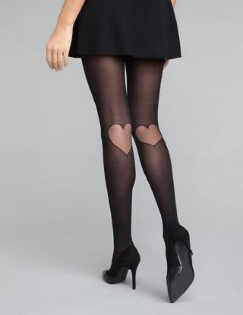 Dim Style - Collant fantaisie motif cœur arrière genou noir 20D
