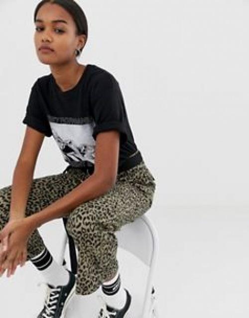 Obey - Pantalon évasé à imprimé léopard